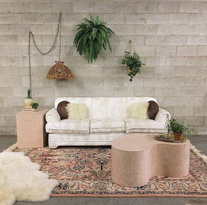 LOCAL PICKUP ONLY Vintage Couch Retro 1980s White + Tan Colton and Canvas Three Seat Couch With Sewn Leaf Pattern For Living Room by RetrospectVintage215