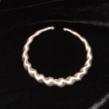 Vintage 80s Silver Tone Spiral Design Collar Necklace by AllMyItems