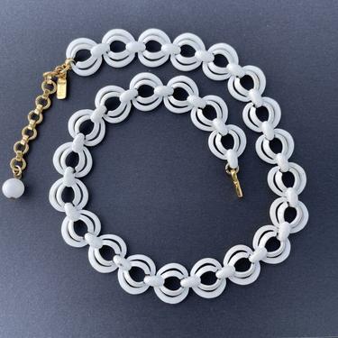 1960's Monet White Enamel over Metal Choker Necklace