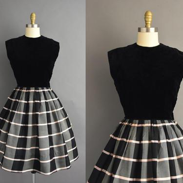 vintage 1950s | Gorgeous Black Velvet Pink Stripe Print Full Skirt Cocktail Party Dress | Small | 50s dress by simplicityisbliss