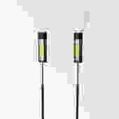 Pair of Stilnovo Floor Lamps Glass Diffusers Marble Base Tall Black Enameled Stem and marble base