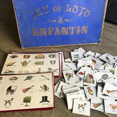 French Childs Lotto Game, Edwardain, Jeu de Loto, Pictorial, Original Box, 6 Playing Cards by JansVintageStuff