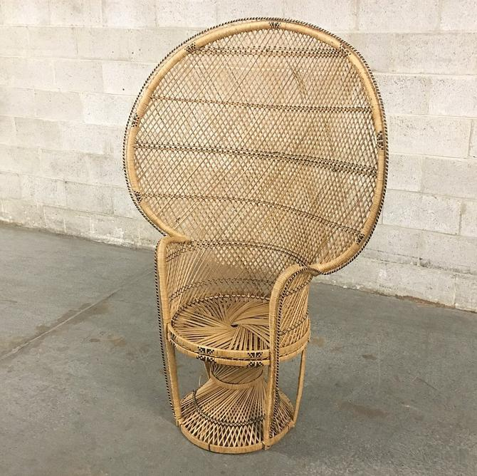 LOCAL PICKUP ONLY ———— Vintage Wicker Peacock Chair by RetrospectVintage215