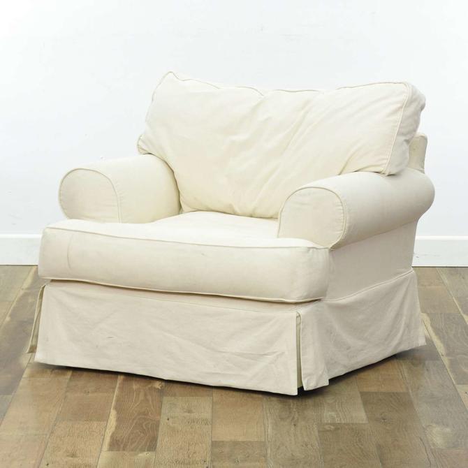 Oversized White Upholstered Slipcovered Armchair