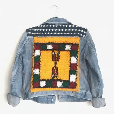 Berber Carpet + Mud Cloth Jean Jacket