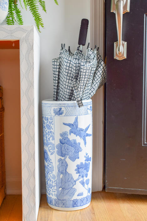 Blue and White Asian Chinoiserie Ceramic Umbrella Stand by CapitolVintageCharm