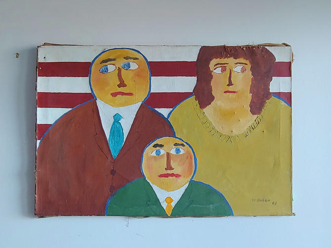 Original Mid Century Modern Folk Art Painting by Thomas DeBaggio by ModandOzzie