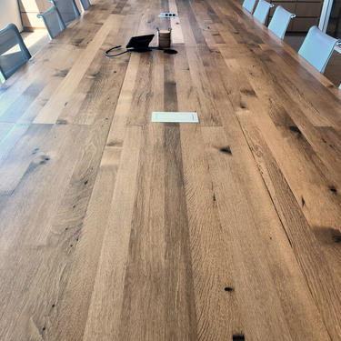 Conference Table built of white oak with knife cut edge, U steel legs. Power not included, inquire for details. Oil finish, clear topcoat. by UrbanWoodGoods