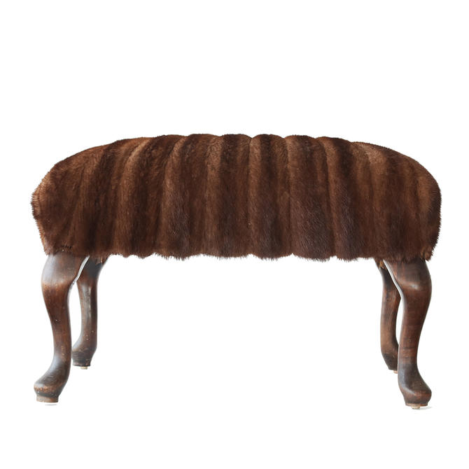 Vintage Fur Footstool by WildChairy