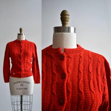 1960s Deadstock Red Knit Cardigan Sweater by milkandice