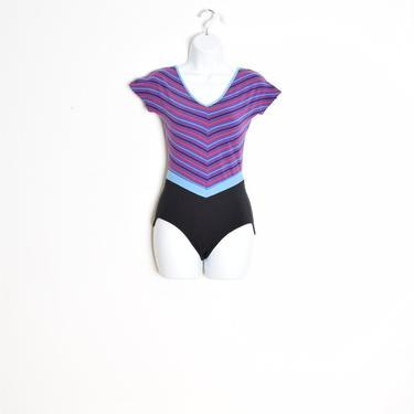 vintage 80s bodysuit leotard purple black striped exercise workout top spandex XS S by huncamuncavintage
