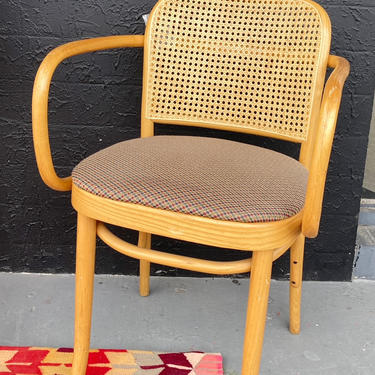 Thonet Cane & Bentwood Arm Chair with Check Upholstery