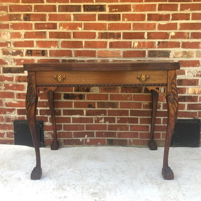 Antique Flip Top Console Table or Desk by secondhandstory