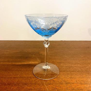 Vintage Fostoria Glass Versailles Blue Champagne Glass Stem 5098 Etch 278 by OverTheYearsFinds