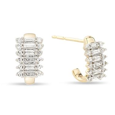Stack Baguette J Hoops (Pair) - Yellow Gold