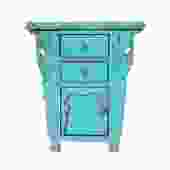 Chinese Rustic Rough Wood Distressed Aqua Blue Side Table Cabinet cs5440S