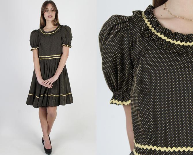 Black Western RicRac Dress / 70s Swiss Dot Square Dancing Dress / Womens Ranch Rustic Full Tiered Skirt / Tiny Polka Dot Ric Rac Dress by americanarchive