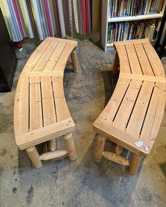 """Fall fire pit vibes. Pine benches. 58"""" long 16"""" deep 16.5"""" tall."""