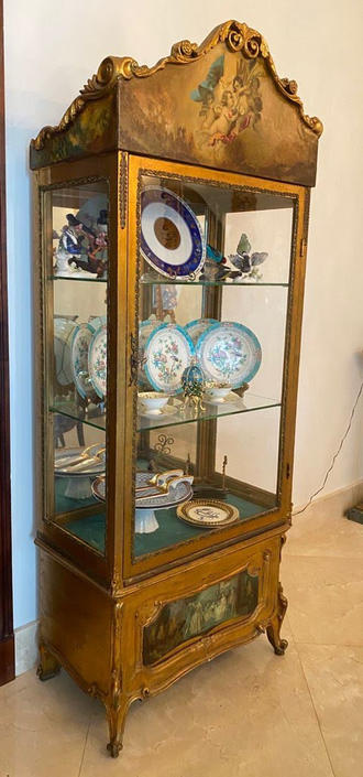 Hand Painted French Guildwood Vitrine / Curio Cabinet by ModernPicks