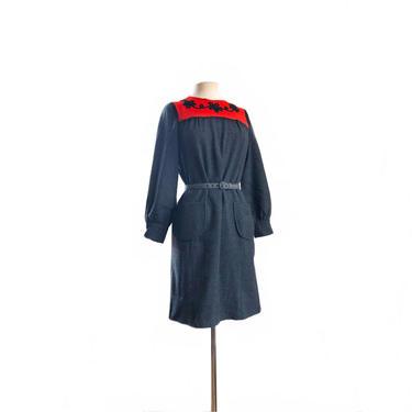 Vintage 60s grey and orange shift wool dress/ Dune Deck/ floral rope applique/ by Vintagiality