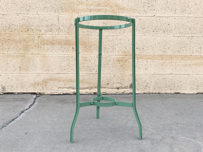Vintage Steel Plant or Water Stand, Refinished in Pistachio, Free U.S. Shipping