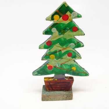 Antique Wooden Christmas Tree, Vintage Hand Painted Wood, Retro Decor, Doll House by exploremag