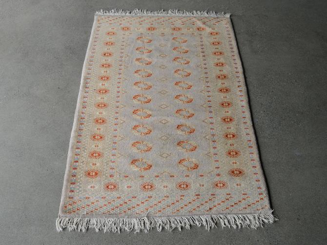 5x3 Vintage Bokhara Wool Rug Silvery Beige by MadsenModern