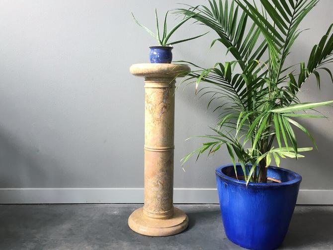 hand carved vintage marble pedestal column.