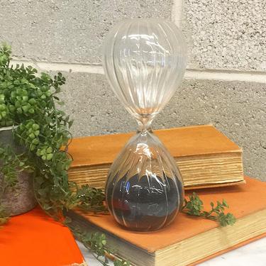 Vintage Hourglass Retro 1970s Mid Century Modern + Large +  43 Minute + Clear Glass + Black Sand + Sand Clock + Game Timer + Bookshelf Decor by RetrospectVintage215
