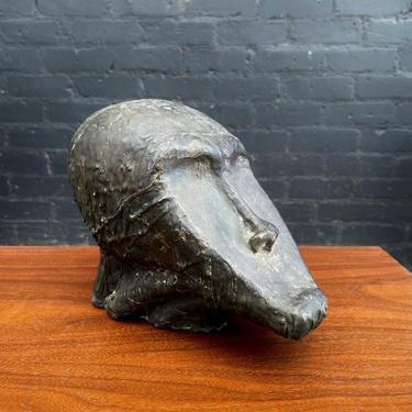 Mid-Century Modern Bronze Brutalist Head Sculpture, c.1960's by VintageSupplyLA