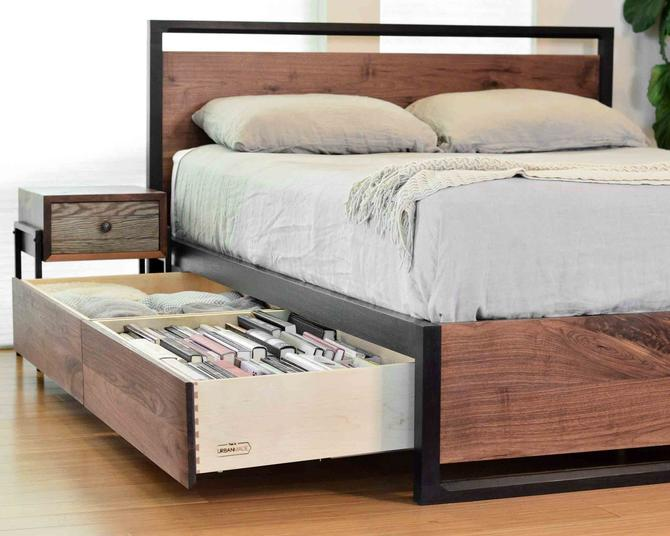 Stunning Walnut Storage Bed, Underbed Drawers, Solid walnut, Solid wood platform bed, Contemporary bedroom furniture by ThisIsUrbanMade
