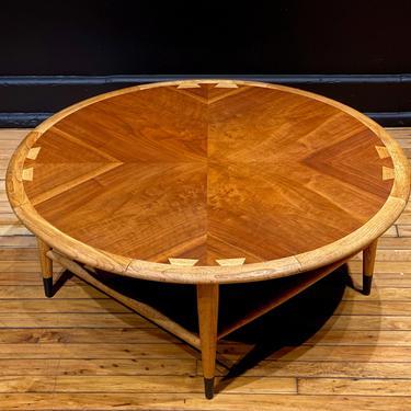 Restored Lane Acclaim Round Coffee Table - Mid Century Modern Danish Style Walnut Coffee Table by MidMod414