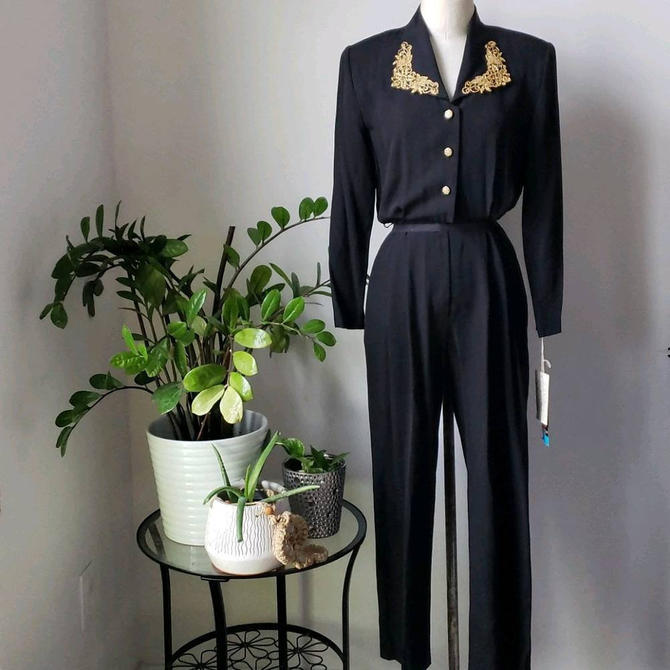 Vintage Black and Gold 1980s 80s Jumpsuit by J.S.J. Petites by LoveOnceAgain