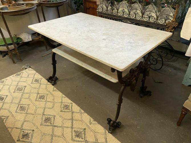 French Marbletop Cast Iron Butcher's Pastry Kitchen Table Island