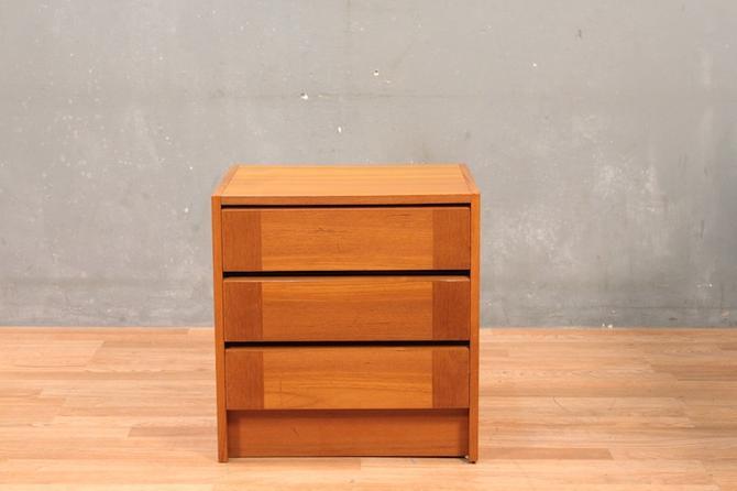 Danish Teak Compact 3-Drawer Nightstand
