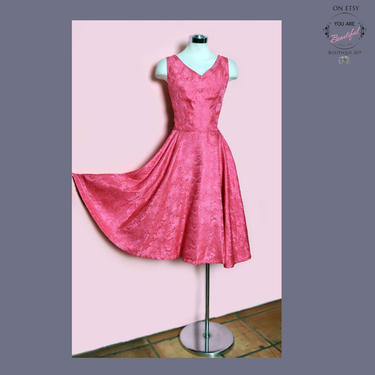 50's Pink Designer Jay Herbert Evening Party Dress, 1950's Fit & Flare Dress, Cocktail Gown Bright Hot Pink, Full Circle Skirt, Small/Medium by Boutique369