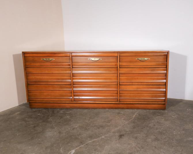 Mid Century Modern Walnut Wood 9-Drawer Lowboy Dresser by IridiumInteriors