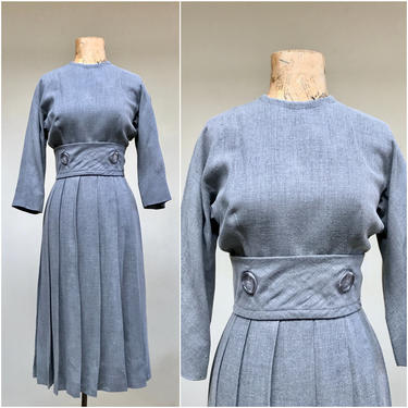 """Vintage 1950s Pearl Gray Day Dress, Late 50s Pleated Skirt Frock from I. Magnin, Tropical Weight Wool, Betty Draper Style, Small 34"""" Bust by RanchQueenVintage"""