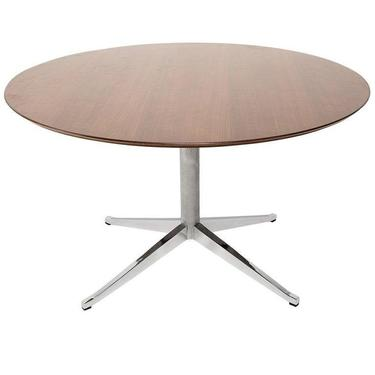 Classic KNOLL Walnut Round Table Dining Conference 1961 by AMBIANIC