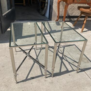 See Right Through   Pair of Unique Chrome Side Tables with Glass Top