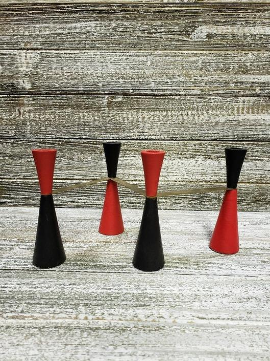 Vintage Candlestick Holder, Danish Modern Candle Holder, Red & Black Mid Century Hinged Candelabra, Expandable Candles Holder, Vintage Decor by AGoGoVintage