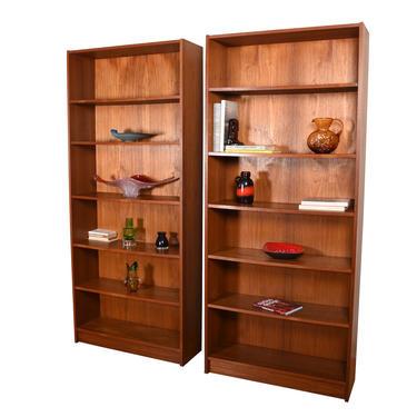 Pair, Slim Danish Teak Bookcases with Adjustable Shelves