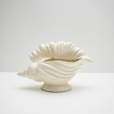 Ceramic Seashell Planter   Vintage Off White Ceramic Planter   Conch Shell Decor by PebbleCreekGoods