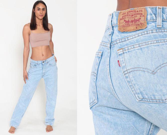 0461fa04 Levis Boyfriend Jeans 505 Mom Jeans Acid Wash Light Blue High Waist Jeans  90s Jeans Blue