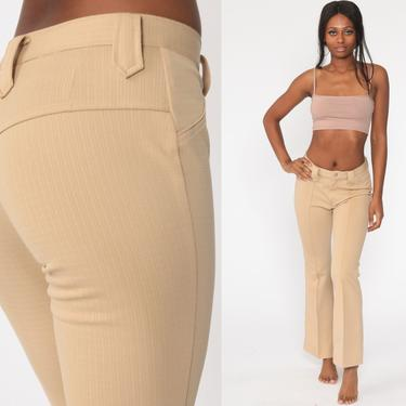 Bell Bottoms Pants 70s Boho Hippie Bellbottom Tan High Waisted 1970s Vintage Bohemian Trousers Mid Rise Small 26 by ShopExile