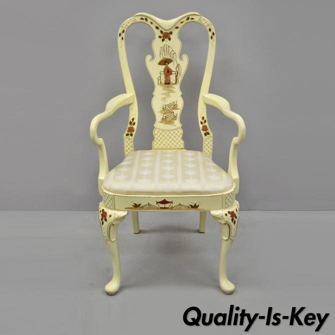 Phenomenal Vintage Hickory Mfg Queen Anne Georgian Style Japanned White Machost Co Dining Chair Design Ideas Machostcouk