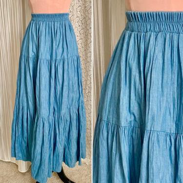 Prairie Denim Skirt, Midi, Peasant, Crinkle Pleats, High Waist, Vintage 70s, Cottage Core Hippie, Boho by GabAboutVintage