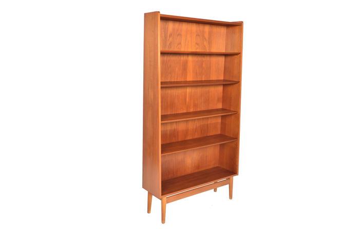 Danish Mid Century Modern Narrow Teak Bookcase by Nexø by MidCenturyMobler