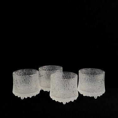 "Vintage Mid Century Modern Tapio Wirkkala Ultima Thule Drinking Glasses Set of 4 IITTALA Wide 4"" x 3.5"" Tall Finland Classic Modern Design by SwankyChaperooo"