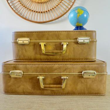 Vintage Suitcases - Invicta Luggage - Brass Hardware - Gold Camel Color - Set of Two by SoulfulVintage